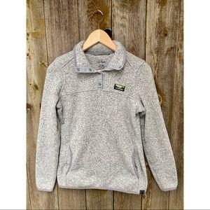 L.L. BEAN fleece pullover sweater grey snap collar size XS regular